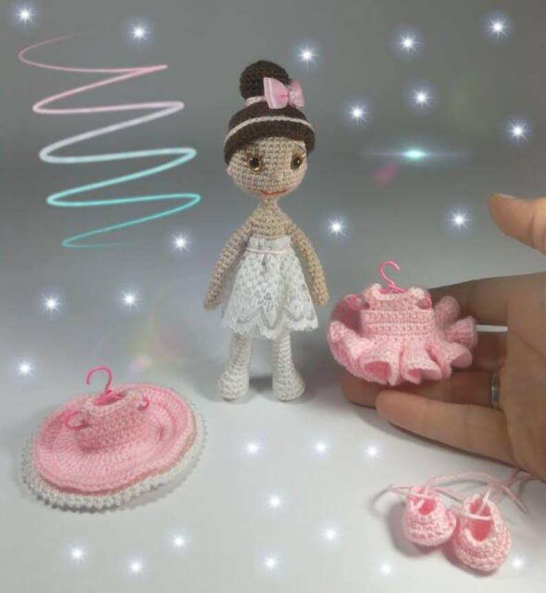 Crochet Little Doll Crochet Amigurumi Doll Pattern Mini Ballerina doll 2 Diferent Removable Dresses Amigurumi Little Doll
