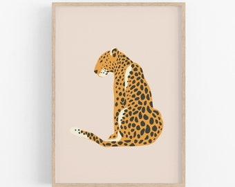 Leopard Illustration Graphic Art Print, UNFRAMED