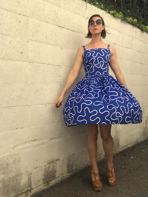 50s Cobalt Blue Full Skirted Summer Dress