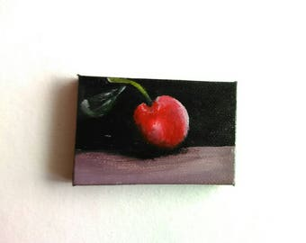 Cherry Mini Painting | Canvas Painting | Cherry Art | Original Art | Decor | Modern Art | Painting | Still Life Painting | Magic Mini Art