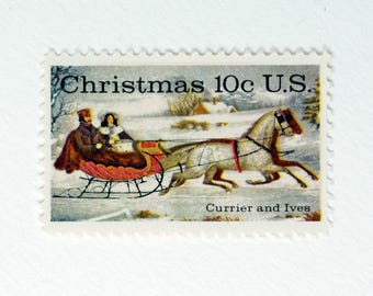 5 Vintage Unused Postage Stamps | Currier and Ives winter scene | Christmas | 10 cents | 1974 | 10 cent vintage postage stamps for mailing