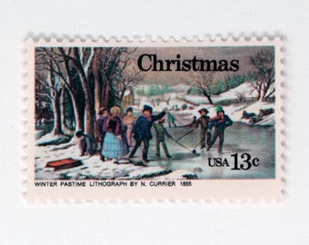 5 Vintage Unused Postage Stamps | Winter Scene | 13 cents | 1976 | 13 cent vintage postage stamps for mailing