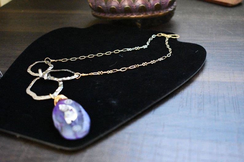 Purple Agate pendant necklace brass wire wrap gold plated chain steam punk victorian style artisan jewelry silver plated hammered links
