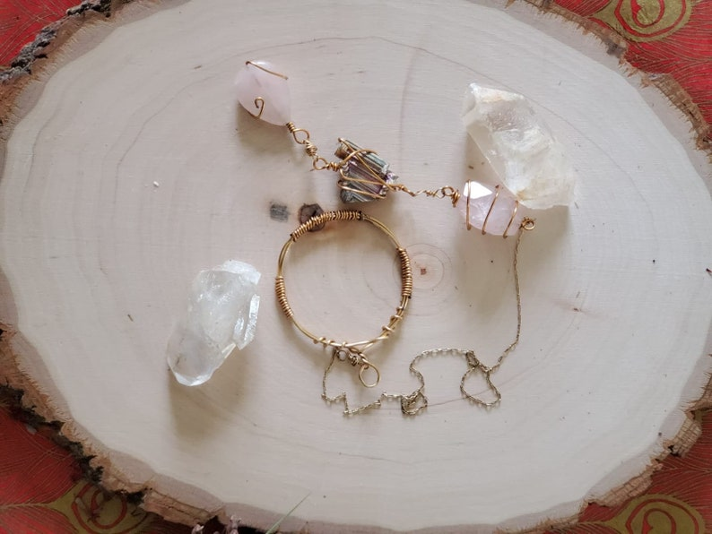 Rose quartz Gold plated love yourself necklace statement jewelry wire wrapped necklace lariat adjustable