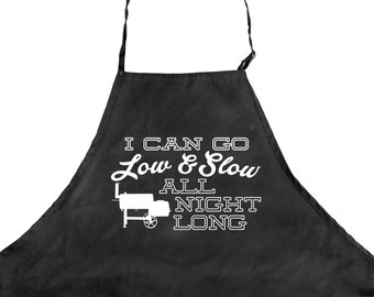 Funny BBQ Apron for Men 3 Pockets Grilling Pitmaster Father's Day Gift for Dad Meat Smoking Offset Smoker I Can Go Low Slow All Night Long
