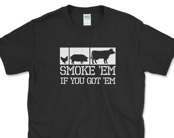 Funny BBQ Smoker Pitmaster Shirt, Gift for Grilling Meat Lover, Fathers Day Gift Idea for Dad, Smoke Em If You Got Em Square Cow Pig Chicken