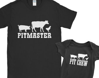 Pitmaster Pit Crew Matching T Shirt Set Fathers Day Grill Gift BBQ Smoker Grilling | Barbecue Master Dad Kid Son Daughter Meat Smoking