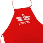 Funny Dad Father's Day Grill Gift BBQ Man Apron With Pockets | Barbecue Pit Master Gift | Meat Smoker Accessory Make Grilling Great Again