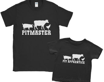 Pitmaster Pit Apprentice Matching T Shirt Set Fathers Day Grill Gift BBQ Smoker Grilling | Barbecue Master Dad Kid Son Daughter Meat Smoking