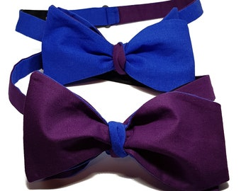 Reversible Purple and Blue Self-Tie Bow Tie.