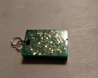 Handcrafted Green Pendant with gold flakes of glitter