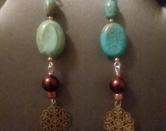 Turquoise and Bronze Drop Earrings