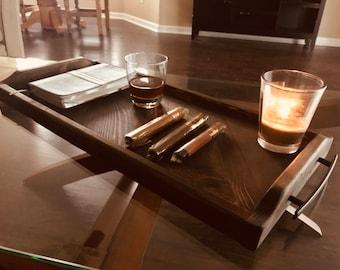Bon Rustic Ottoman Coffee Table Serving Tray