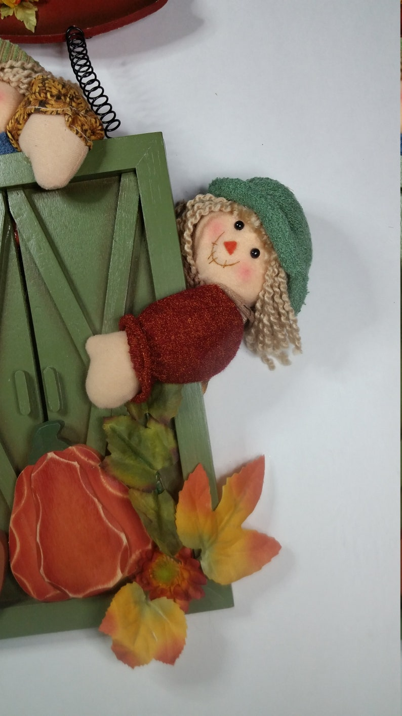 Rag Dolls Garden Gate Decoration-Door Decoration-Door Hanger-Wall Decoration-Fall Decoration-Autumn Decoration-Home Decoration