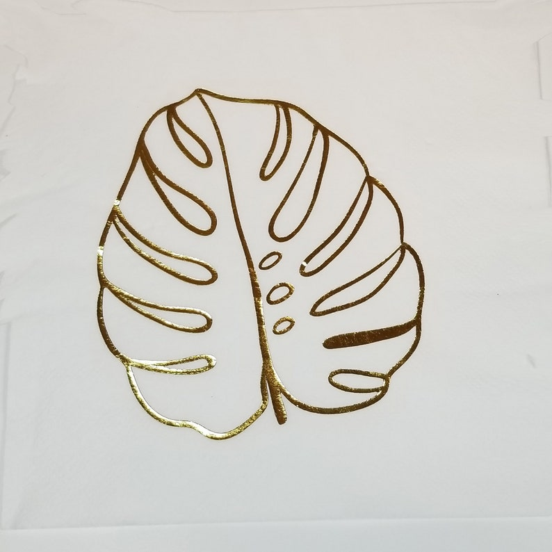 8 Tropical Leaf Gold Foil Plates-Summer Birthday Party-Tropical Jungle Party-Picnic BBQ Plates-Tropical Decoration-Party Supplies