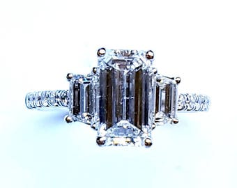 3-Stone Emerald Cut Diamond Engagement Ring with a 1.53Ct F/SI1 GIA Emerald Cut Center