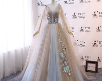a47537ea24e Custom Women Prom Dress Ball Gown Combine Color Long Quinceanera Dress Blue  Tulle Masquerade Prom Dress Wedding Bride Gown Illusion Back