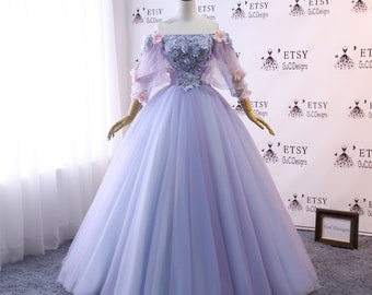 2c3c6b26e0c Custom Women Prom Dress Ball Gown Long Quinceanera Dress Floral Flowers  Masquerade Prom Dress Wedding Bride Gown Illusion Back