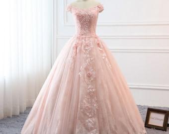 Floral prom dress etsy more colors custom women light pink prom dress mightylinksfo