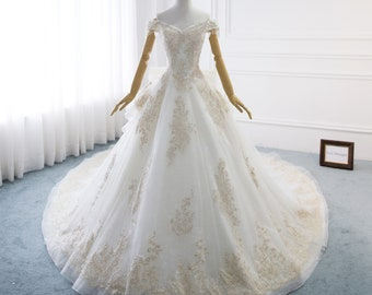 White Gold Wedding Dresses with Lace