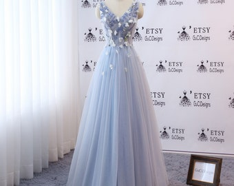8f71803197 Custom Prom Ball Gown Long Blue Evening Dress Floral 3D Flower Evening Gown  Vintage Women Formal Party Gown Modest Wedding Reception Dress