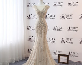 23e3b583ecca Sexy Deep V neck Prom Dress Champagne Mermaid Trumpet Design 2019 Luxury  Gold Crystal Women Formal Evening Party Gown Bridal Wedding Gown