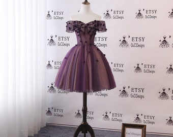 2fc6ca03e Junior/Senior Girls Homecoming Dress Purple Lace Prom Dress Crystal Short  Knee Length Dress Off Shoulder Cocktail Party Dress Tulle