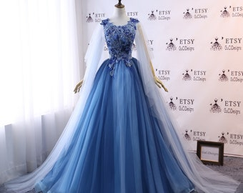 bedd343f725 Custom Women Blue Prom Dress Ball Gown Long Quinceanera Dress Floral Lace  Flowers Masquerade Prom Dress Wedding Bride Gown Illusion Back