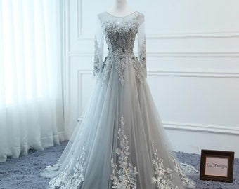 0737fed8f8 2019 Prom Dresses Long Gray Long sleeve Evening Dresses Floral Tulle  Appliques Dress A-Line Women Formal Party Gown Fashionable Bride Gown