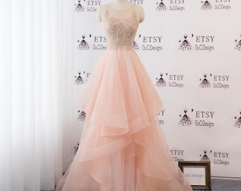 a6f681666ea A-line Women Formal Dress Orange Pink Long Prom Dress Tulle with Gold  Applique Beaded Illusion Lace Back Evening Dress Bridal Wedding Dress