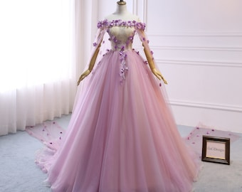 451b7ddc4c238 Custom Women Light Purple Prom Dress Ball Gown Long Quinceanera Dress  Flowers Shoulder Cape Prom Dress Wedding Bride Gown Illusion Back-32