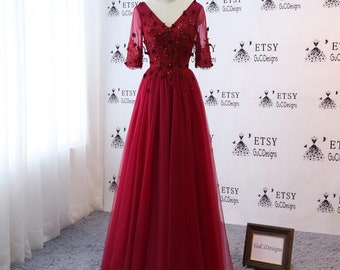 81e4fe987a Burgundy Women Formal Evening Dresses V-neck Prom Party Gown Bride Dress  Sleeves Tulle Lace Wedding Guest Dress with Train Custom size color