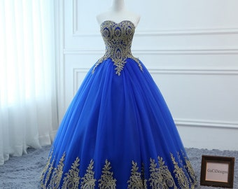 4b61f77edf 2018 Prom Ball Gown Royal Blue Dress Long A-line Gold Applique Lace Dress  Tulle Sexy Backless Women Formal Evening Party Gown PlusSize