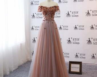 82d32592dc5d03 Sexy Off Shoulder Prom Ball Gown Sweetheart Neck Flowers Dresses Long Brown  Women Formal Evening Party Gown Bride Mother Dress Custom-size