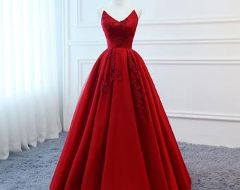 High Quality Silk Satin 2018 Modest Prom Dresses Long Red Wedding Evening  Dress Floral Tulle Women Formal Party Gown Bride Gown Corset Back 6f49d0cd5