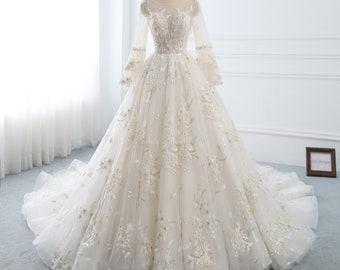 1a7682faa91 Wedding Dress Long Sleeve A-line Wedding Dress Lace