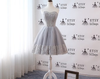 3e0f9662f 2018 Junior/Senior Girls Homecoming Dress Gray Lace Prom Dress Tulle Short  Above Knee Length Dress Off Shoulder Cocktail Party Dress Mini