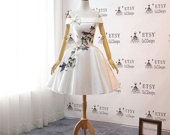 7f6cb8837e 2019 Cocktail Party Dress Short Prom Dress White flower birds Bow  Homecoming Dresses Floral Above Knee length Senior Junior Graduation Dress