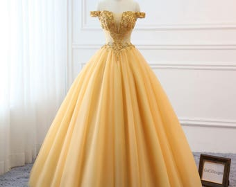 2018 Gold Prom Ball Gown Beaded Off Shoulder Quinceanera Dress Tulle Masquerade  Prom Dress Wedding Bride Gown Corset Back Custom Size Color 42d870fdd