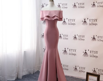 b4c2371e6238e3 2019 Mermaid Satin Prom Dresses Evening Dresses Lace Off Shoulder Dress  Silky Pink Women Formal Party Gown Fashion Side-Split Bridal Gown