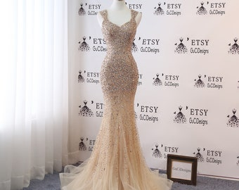 89152cb8ff557 Sexy Sparkling beaded Prom Dress Champagne Mermaid Trumpet 2019 Luxury Gold  Crystal Women Formal Evening Party Gown Wedding Dress Vintage