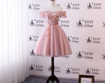 d8885e2b405 2018 Junior Senior Girl Homecoming Dress Pink Orange Lace Flowers Prom  Dress Short Knee Length Dress Off Shoulder Cocktail Party Dress Tulle