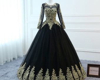 7f2565d0ede0 Custom Size/Color/ Length 2019 Prom Ball Gown Black Long Sleeve Dress Gold  Applique Lace Dress Tulle Elegant Women Formal Evening Party Gown