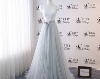 e9767aac0dcc A-line Wedding Gown Wedding Dresses Bridal Gown Bride Dress Long White Lace  Bodice Light Gray Skirt with Sash Button Back Bride Beach Gown