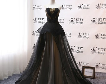 07b2b2679a51a GUCI DESIGN Princess Ball Gown Long Black Evening Dress Makes Your Stunning  Disposition Noble Lace Tulle Dress Women Formal Party Gown