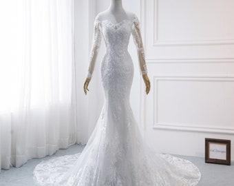 Long Sleeve Mermaid Wedding Dress Etsy
