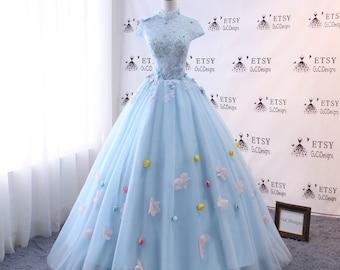High Neck Wedding Dresses 2018 Modest Prom Dress Long Blue Wedding Evening  Dress Floral Tulle Women Formal Party Gown Bride Gown Corset Back 75d312e2bc9