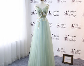 bb11eacd95 2018 Prom Dresses Long Green Yellow Evening Dresses with Thin Straps Floral Tulle  Dress Women Formal Party Gown Corset Back Quality Custom