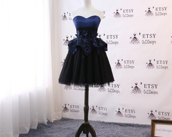 2019 Junior Senior Girls Homecoming Dress blue Lace Prom Dress Tulle Short  Above Knee Length Dress Off Shoulder Cocktail Party Dress Mini 301a98352b6f