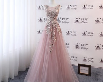 fe044b1617 A-line Women Formal Dress Blush Pink Long Prom Dress Tulle with Embroidery  Applique Pearl High Back Evening Dress Bridal Wedding Party Dress